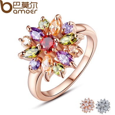 BAMOER 3 Colors  Rose Gold Color Finger Ring for Women with AAA Multicolor Cubic Zircon Wedding Berloque #6 7 8 9 JIR031 - Clucco