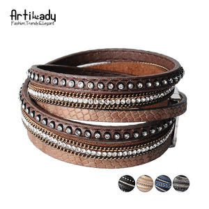 Artilady  wrap leather bangle charm winter leather bracelet women jewelry BW dropshipping - Clucco