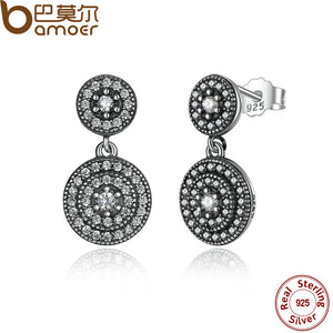 BAMOER 925 Sterling Silver Radiant Elegance Earrings Clear CZ Crystals Surrounded Ancient Silver Women Drop Earings PAS471 - Clucco