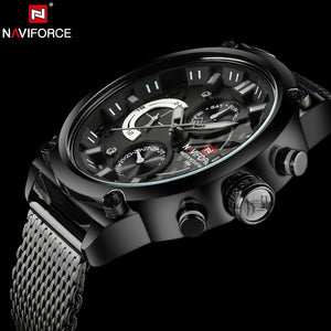 NAVIFORCE Luxury Brand Man 3ATM Waterproof Clock Men's Analog Quartz 24 Hour Date Watches Men Sport Full Steel WristWatch - Clucco