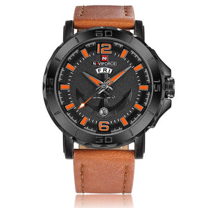 2018 New Top Luxury Brand Naviforce Leather Strap Sports Watches Men Quartz Clock Sports Military Wrist Watch Relogio masculino - Clucco