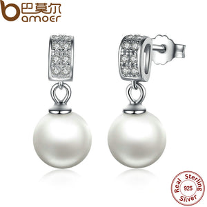 Drop Earrings Fine Jewelry Female Drop Earrings with Pearls Earrings 925 Sterling Silver Jewelry Mother's Day Gift SCE006 - Clucco