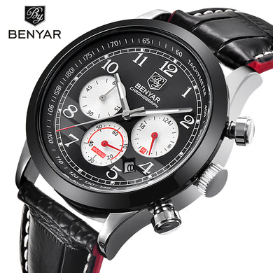 BENYAR Brand Sport Waterproof Chronograph Men Watch Top Brand Luxury Male Leather Quartz Military Wrist Watch Men Clock saat - Clucco