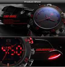 Kitefin Shark Sport Watch Brand Mens Military Quartz Red LED Hour Analog Digital Date Alarm Leather Wrist Watches Relogio /SH261 - Clucco