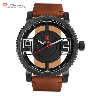 Megamouth Shark Sport Watch 3D Special Transparent Hollow Dial Design Luxury Brown Leather Band Men Creative Watches Gift /SH543 - Clucco