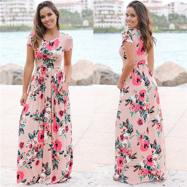 d44fc5b969d 2018 Summer Long Dress Floral Print Boho Beach Dress Tunic Maxi Dress Women  Evening ... - Pink 2   M