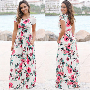2018 Summer Long Dress Floral Print Boho Beach Dress Tunic Maxi Dress Women Evening Party Dress Sundress Vestidos de festa XXXL - Clucco