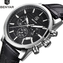 BENYAR Quartz Watches Men Chronograph Waterproof Watches Business Sport Design Leather Band Strap Wrist Watch for Men - Clucco