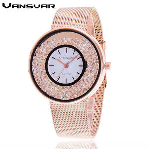 Hot Sale Fashion Stainless Steel Rose Gold & Silver Band Quartz Watch Luxury Women Rhinestone Watches Valentine Gift - Clucco