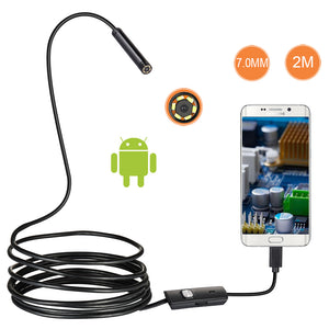 7mm Lens Android OTG USB Endoscope Camera 2M Smart Android Phone USB Borescope Inspection Snake Tube Camera 6LED - Clucco