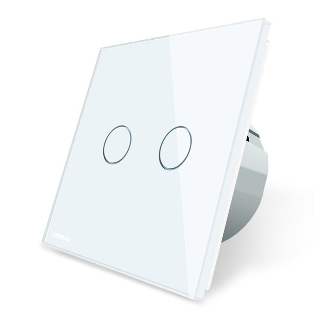 Livolo 2 Gang 1 Way Wall Touch Switch, White Crystal Glass Switch Panel, EU Standard,  220-250V,VL-C702-1/2/3/5 - Clucco