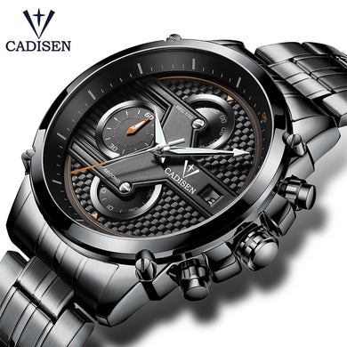 Cadisen Hot Watch Men Top Brand Luxury Sport Fashion Casual Quartz Mens Watches Stainless Steel Waterproof Mans Timer Wristwatch - Clucco