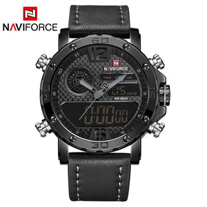 Mens Watches To Luxury Brand Men Leather Sports Watches NAVIFORCE Men's Quartz LED Digital Clock Waterproof Military Wrist Watch - Clucco