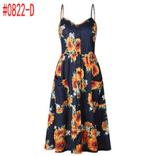 Summer Women Dress 2018 Vintage Sexy Bohemian Floral Tunic Beach Dress Sundress Pocket Red White Dress Striped Female Brand Ali9 - Clucco