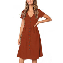 2018 Women's Fashion Summer Short Sleeve V Neck Button Down Swing Midi Dress with Pockets Beach Summer Dress - Clucco