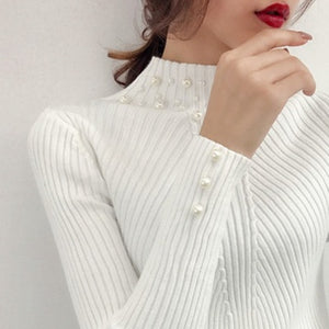 New 2018 Autumn and Winter Women Pearl Beaded Sweater O-Neck Long Sleeve Slim Women Knit Sweater and Pullover SW854