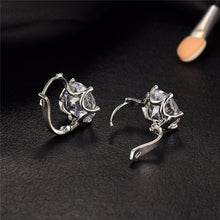 17KM New Fashion Statement bijoux 7 Color Vintage Punk Silver Color Crystal Flower Stud Earrings for Women Wedding Love Earring - Clucco