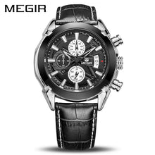 MEGIR Military Watches Men Quartz Chronograph 6 Hands Genuine Leather Male Clock Sports Army Wrist Watch Relogios Masculino