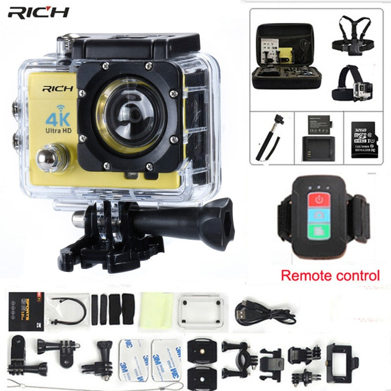 Action camera gopro hero 4 Stlye Q3H Remote control Full HD 1080P Wifi 170 wide-angle lens Waterproof 30M Extreme Sports camera - Clucco