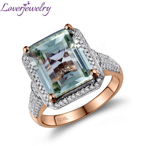 Loverjewelry Emerald Cut Natural Green 100% Natural Amethyst Diamond Engagement Ring In Solid 14Kt Gold Jewelry 10x12mm G00326 - Clucco