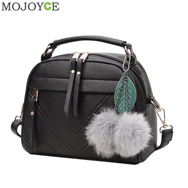 Fashion PU Leather Handbag for Women 2018 New Girl Messenger Bags with Ball Toy Bolsa Female Shoulder Bags Ladies Party Handbags - Clucco