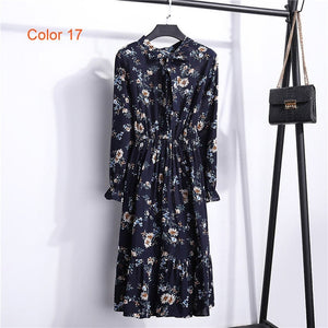 Chiffon High Elastic Waist Party Dress Bow A-line Women Full Sleeve Flower Print Floral Bohemian Dress Female Vestido Plus Size - Clucco