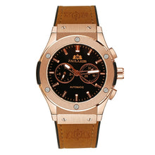 Men Automatic Self Wind Mechanical Rose Gold Silver Black Case Brown Leather Rubber Strap Casual Sports Geneve Watch - Clucco
