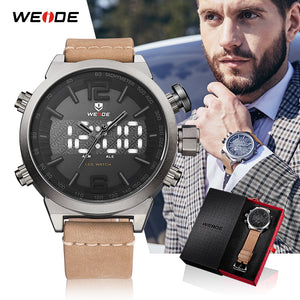 WEIDE Men Sports watches 2018 luxury brand Digital Leather Strap Military Quartz Wrist Watches Relogio Masculino Male Clock 2018 - Clucco