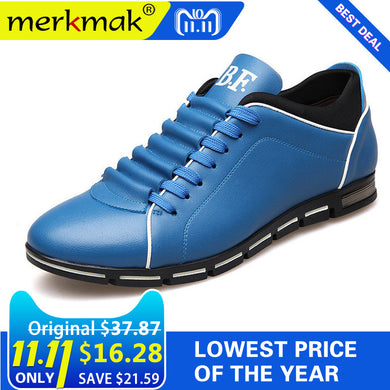 Merkmak Big Size 38-48 Men Casual Shoes Fashion Leather Shoes for Men Summer Men's Flat Shoes Dropshipping - Clucco