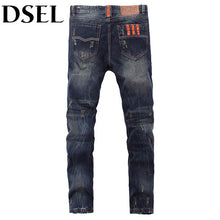 European American Street Fashion Men Jeans Orange Pocket Stripe Jeans Mens Pants DSEL Brand Buttons Distressed Ripped Jeans Men - Clucco
