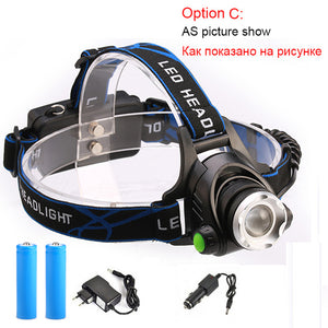 RU 10000LM Led Headlamp L2/T6 Zoomable Head light Head Torch flashlight Head lamp by 18650 battery for Fishing Camping