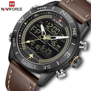 NAVIFORCE Luxury Brand Leather Army Military Watch Men's Fahison Sport Watches Men Quartz Analog Digital Clock Relogio Masculino - Clucco