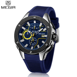 MEGIR Quartz Watches Men Top Quality Chronograph Functions Sport Watch Waterproof Blue Silicone Rubber Strap Wristswatch Clock - Clucco