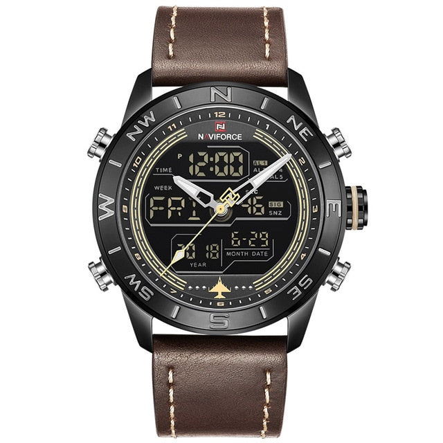 NAVIFORCE Luxury Brand Mens Fashion Sport Watches Men Quartz Analog Digital Clock Leather Army Military Watch Relogio Masculino