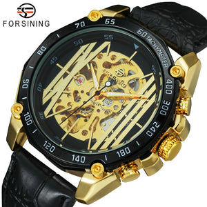 FORSINING Fashion Auto Mechanical Mens Watches Top Brand Luxury Leather Strap Irregular Golden Skeleton Watch Men relogio 2018 - Clucco