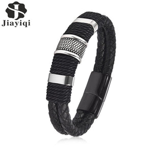 Jiayiqi 2017 Fashion Black Braid Woven Leather Bracelet Titanium Stainless Steel Bracelet Men Bangle Men Jewelry Vintage Gift - Clucco