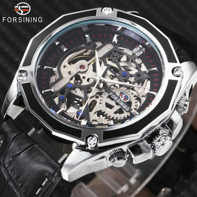 FORSINING 2018 Auto Mechanical Watch Men Leather Strap Fashion Mens Watches Top Brand Luxury WINNER Golden Skeleton Automatic - Clucco