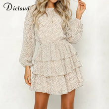 DICLOUD polka dot dress women white backless mini party dresses long sleeve autumn summer sundress 2018 female vestidos - Clucco