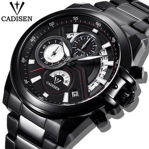 CADISEN Fashion Sport Men Watches Military Waterproof Watch Brand Luxury Steel Quartz Business Male WristWatch Relogio Masculino - Clucco
