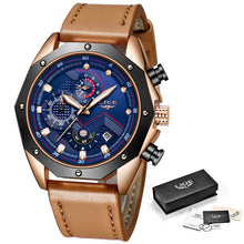 LIGE Mens Watches Top Brand Luxury Quartz Gold Watch Men Casual Leather Military Waterproof Sport Wristwatch Relogio Masculino - Clucco