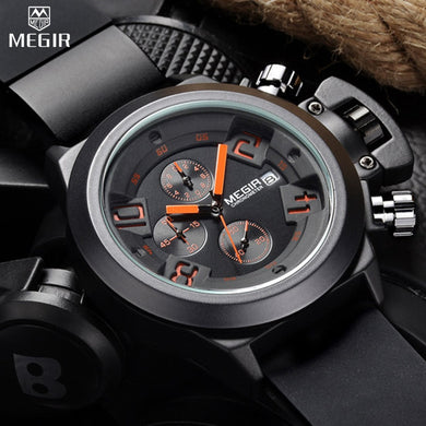 MEGIR Men's Casual Quartz Watch 3D Engraved Dial Black Silicone watches men Waterproof Military Sport Watch for Man MG2002 - Clucco