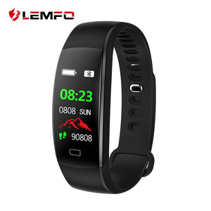 LEMFO Smart Fitness Bracelet Men Color Screen Smart Band Blood Pressure Heart Rate Monitor Wristband for Android IOS - Clucco