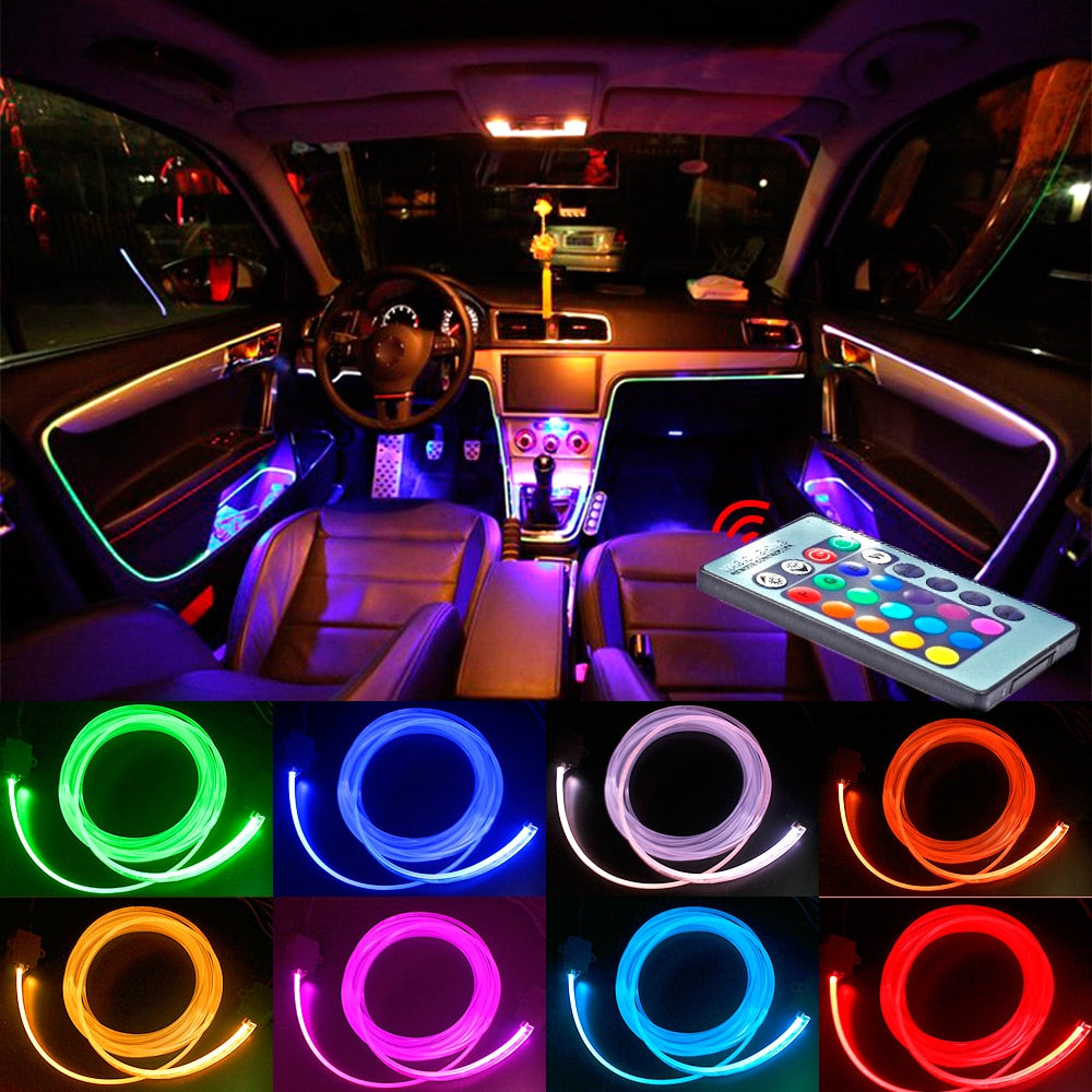 Atmosphere Light Bulb 8 colors For Car Interior Ambient Light LED For Optical Fiber Bright Decorative Car Remote Control Lamp - Clucco