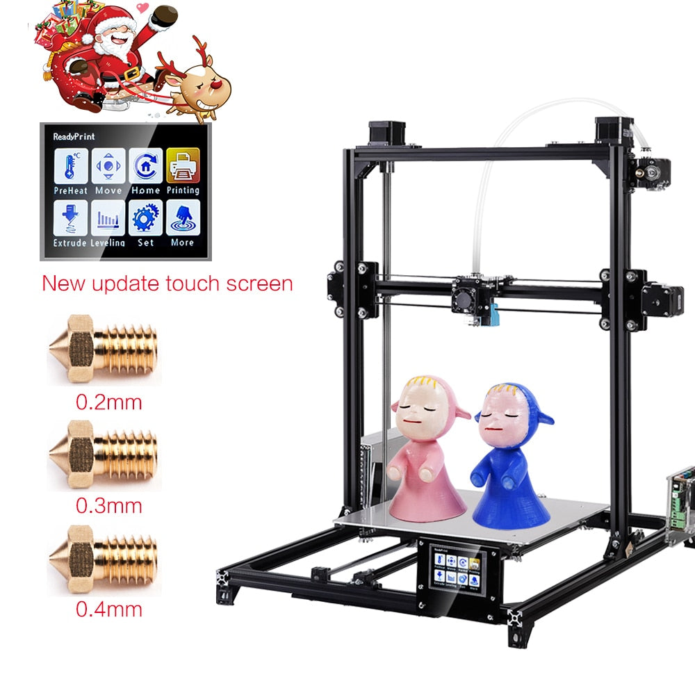 2019 Flsun 3D Printer I3 Kit Full Metal Plus Size 300x300x420mm Dual Extruder Touch Auto-leveling Printer 3D Heated Bed Filament - Clucco