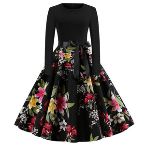 Winter Christmas Dresses Women 50S 60S Vintage Robe Swing Pinup Elegant Party Dress Long Sleeve Casual Plus Size Print Black