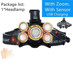 Rechargeable 40000lm Headlight T6+XPE LED Headlamp Hunting Fishing Led ZOOM Flashlight USB Sensor Head Lamps Outdoor Lighting