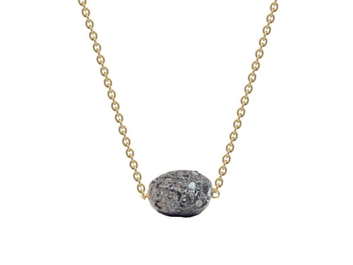 Diamond Encrusted Meteorite in Gold Plated Chain