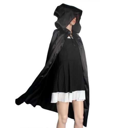 Hooded Cloak, Black or Red Robe Medieval Cape Shawl Halloween Party S/M/L/XL