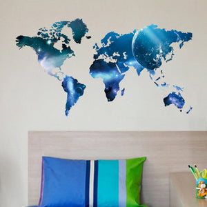 Blue World Map Removable Vinyl Wall Sticker