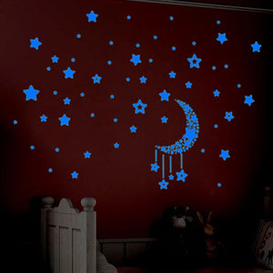Glow In The Dark Stars Hanging from Moon Sticker Set